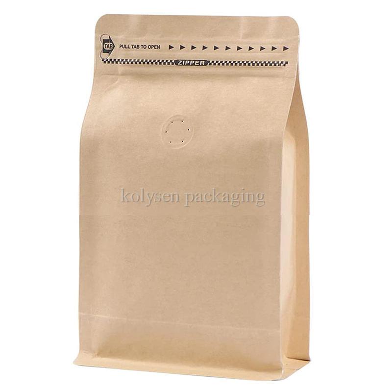 Brown Kraft Paper Flat Bottom Coffee Bag
