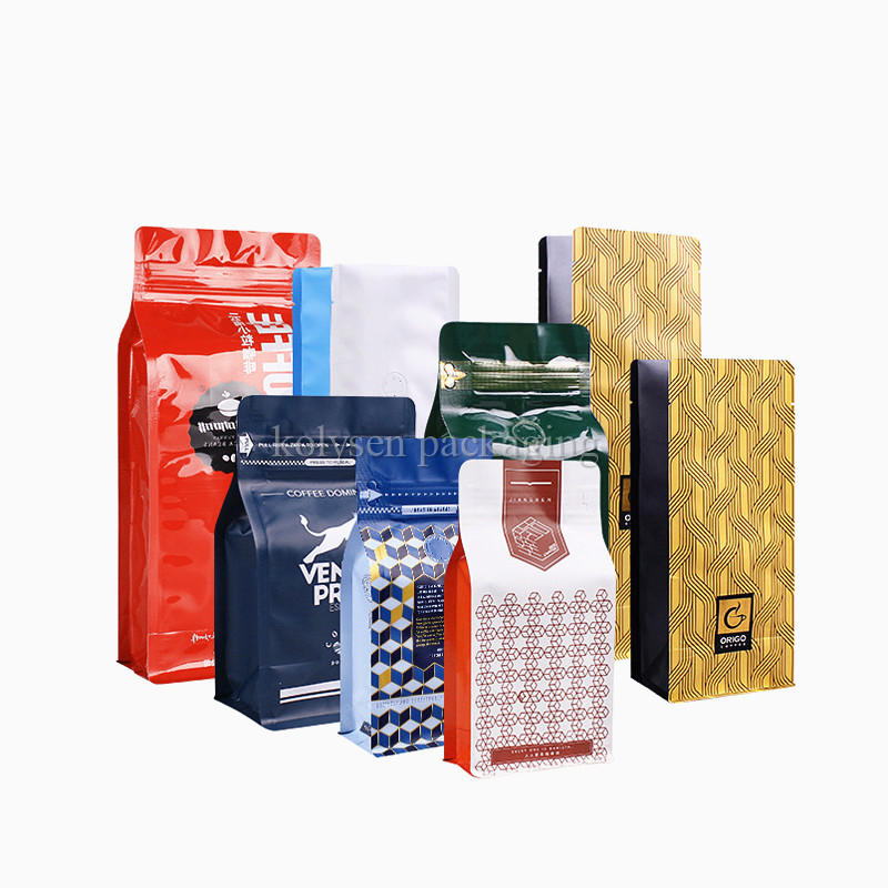 Square Coffee Beans Quad Seal Bags with Air Valve