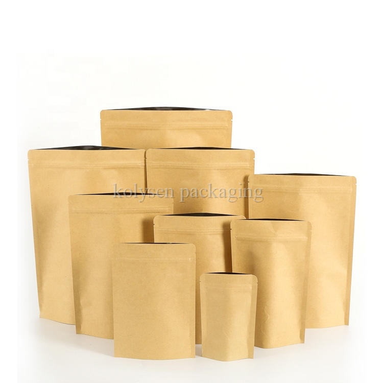 Brown Kraft Paper Foil Lined Stand Up Pouch Bag