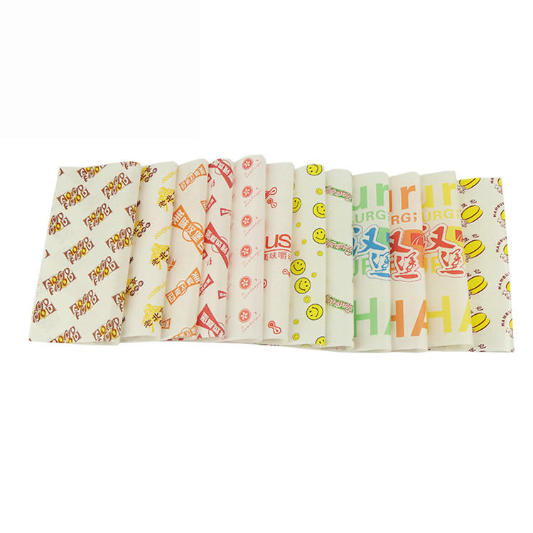Custom printed 40gsm greaseproof paper food packaging for burger wrapping