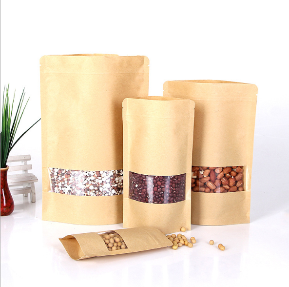 Stand Up Kraft Paper Packaging Bag Brown Zipper With Clear Window