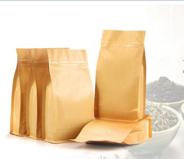 Food Grade Heat Seal Stand Up Foil Lined Kraft Paper Packing Tea Bags