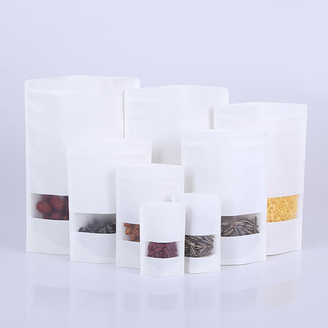 Doypack White Kraft Paper Pouch with Matte Window
