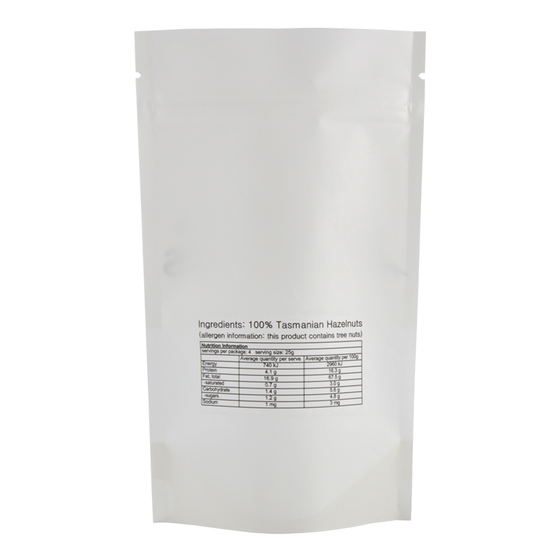 Kolysen Wholesale Custom Doypack Stand Up White Kraft Paper Food Packaging Ziplock Bag with Clear Window