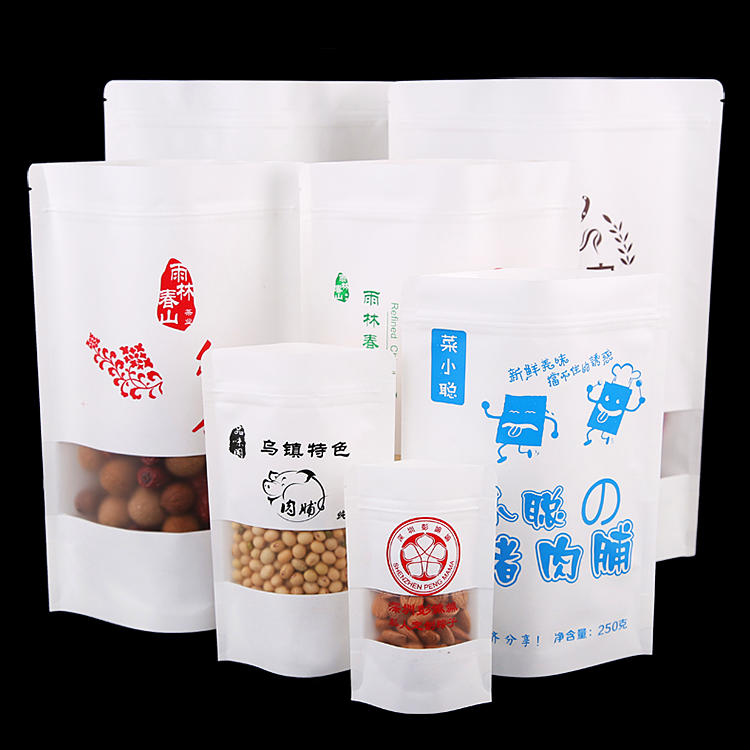 Customized White Doypack Food Packaging Kraft Paper Bag With Matte Window And Zipper-Kolysen