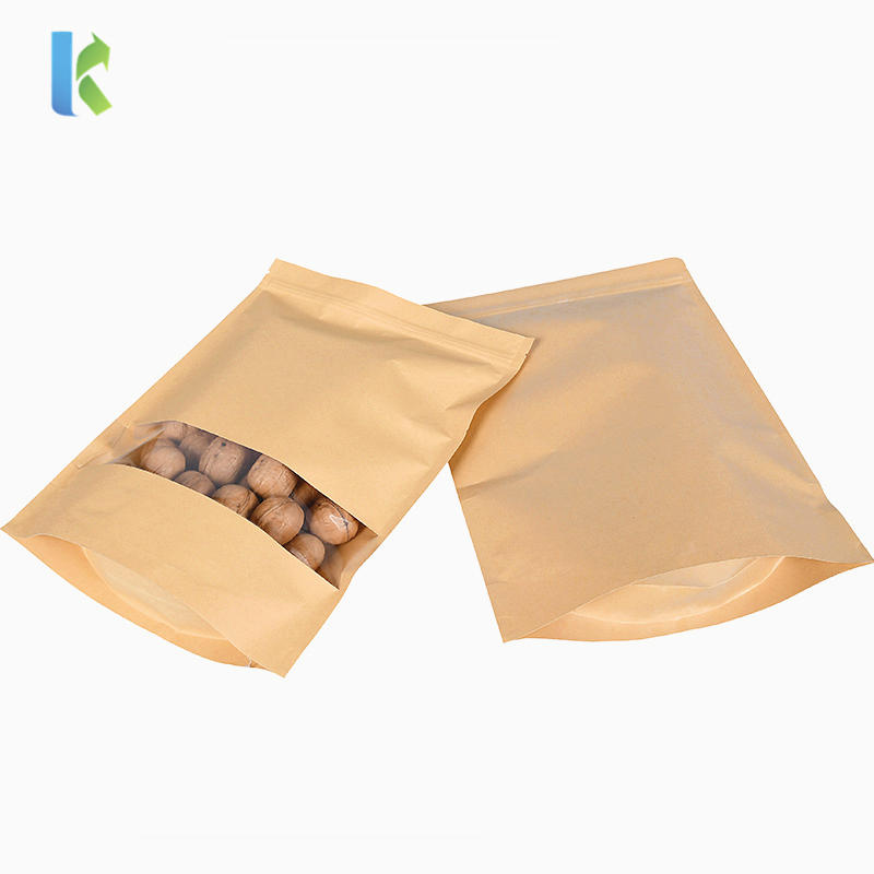 Stand up Kraft Paper Bag with Transparent Window ZipLock Kraft Paper Pouch Sealable Pouch Food Candy Storage