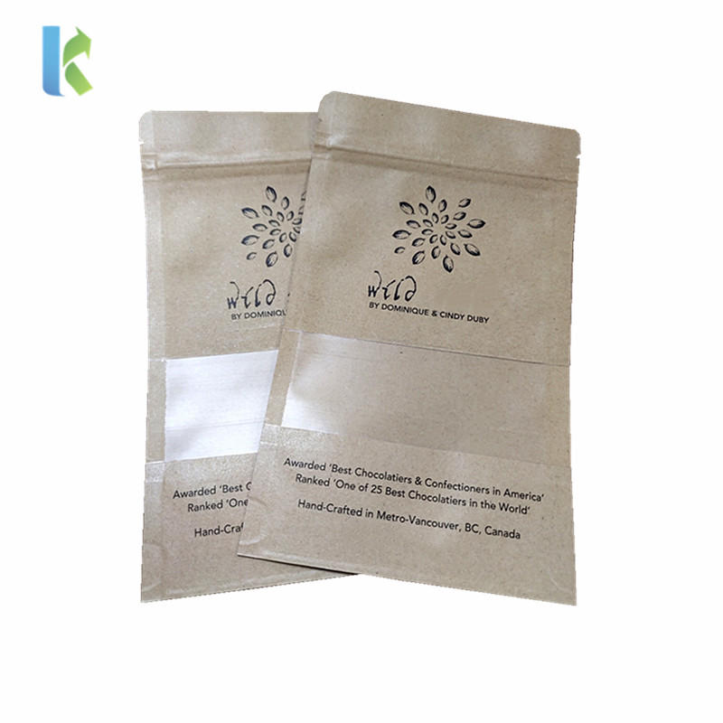 Custom Snack Nut Packing Biodegradable Stand Up Pouches Kraft Paper Zipper Bag With Window