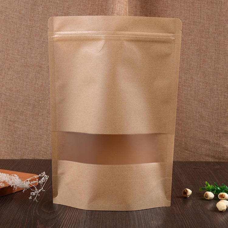 Wholesale Kraft Paper Stand Up Pouch Zipper Bag With Matte Window-KOLYSEN