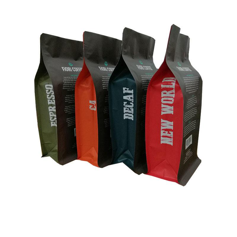 Ziplock Flat Bottom Moisture Proof Coffee Bags with Valve
