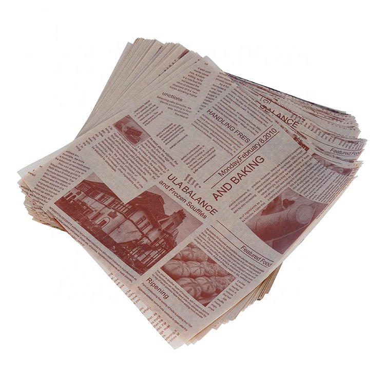 Customized Logo Patterned Food Grade Greaseproof Paper