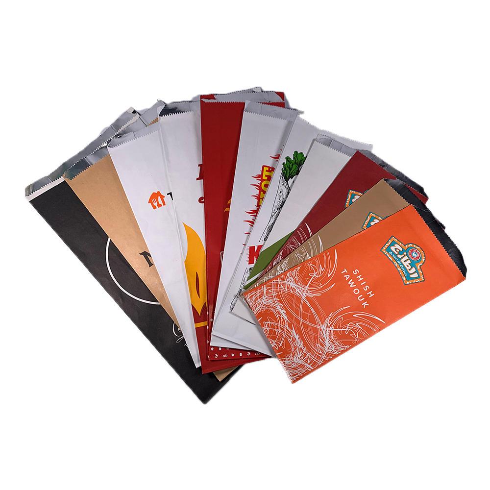 Custom Foil Lined Kraft Paper Bags for Burger Hot Dog Fried Chicken BBQ Fast Food