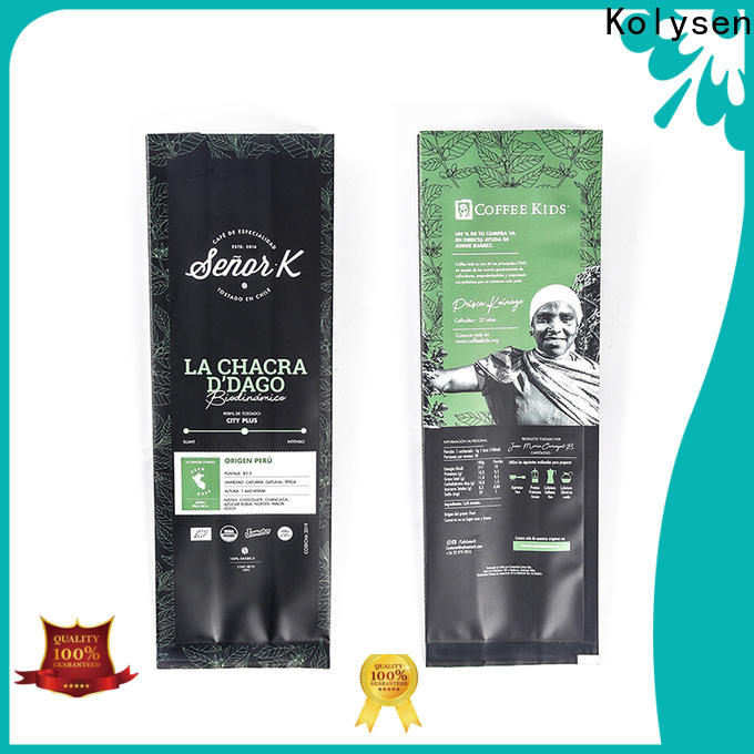 Kolysen biodegradable coffee bags with valve manufacturers for coffee packaging