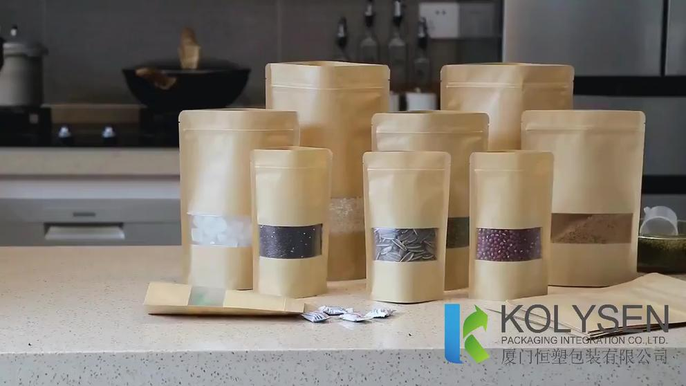 Testing of Natural Window Kraft Paper Stand up Pouch–Flexible Plastic Food Packages