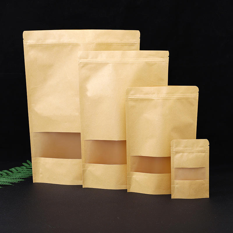 Wholesale Kraft Paper Stand Up Pouch Doypack Zip Lock Bag With Matte Window