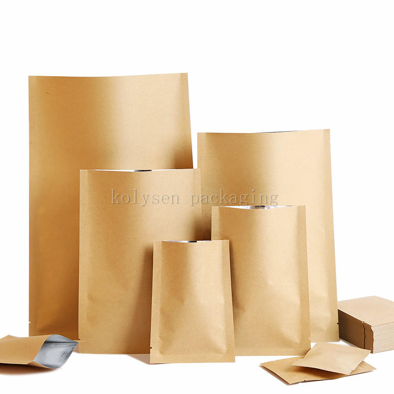 Kraft Paper Three Side Seal Bag with Foil Lined