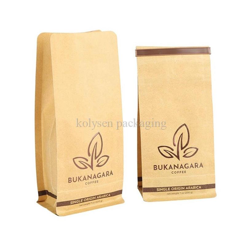 Biodegradable Kraft Paper Flat Bottom Coffee Bag