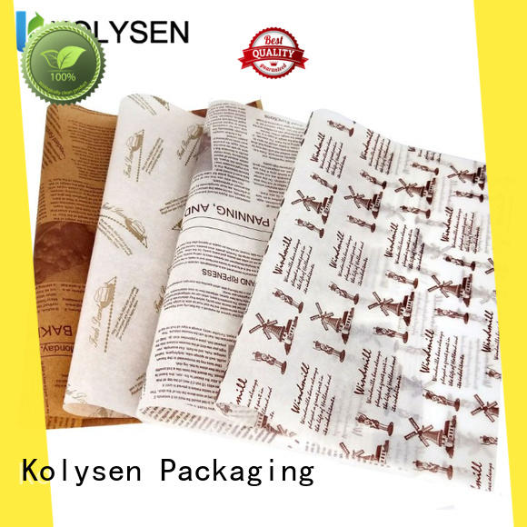 Kolysen food grade wax paper factory for burger packaging