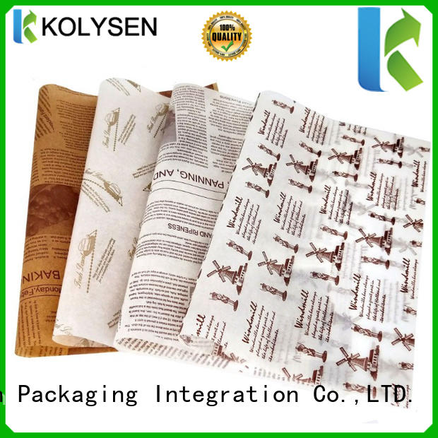 Kolysen Custom wax paper crafts for business For food packing